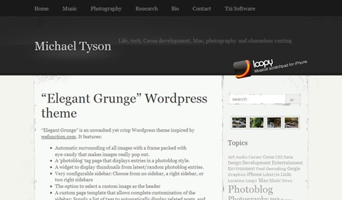 elegant grunge 35 Blog & Portfolio Free Wordpress Theme