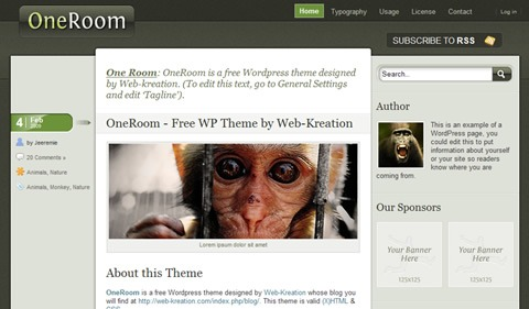 one room 35 Blog & Portfolio Free Wordpress Theme