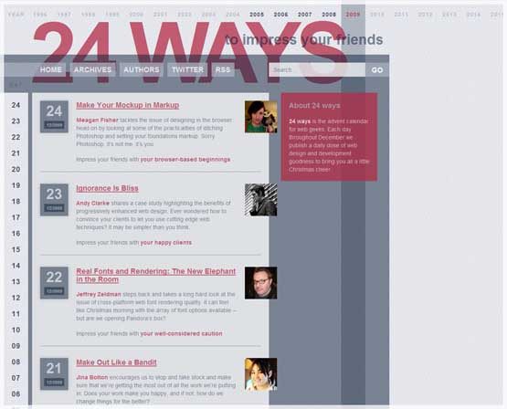 24ways 21 Most Influential Web Design Blogs of 2009