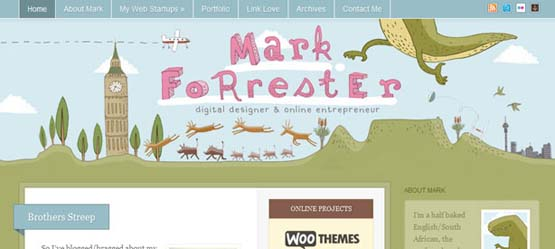 mark forester woo themes 46 Creative Header Designs For Inspiration
