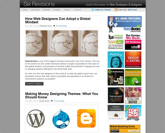 six revisions 21 Most Influential Web Design Blogs of 2009