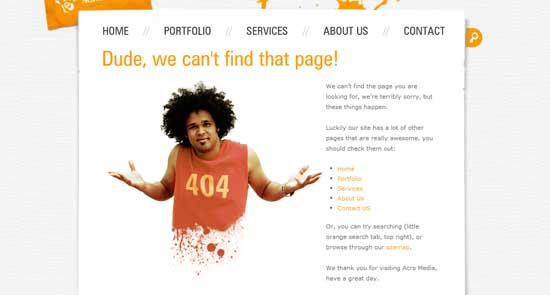 acromediainc404 99 Creative 404 Error Pages
