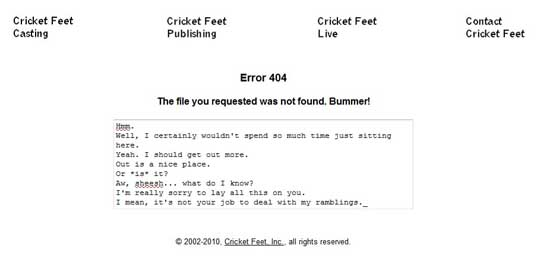 cricketfeet404 99 Creative 404 Error Pages