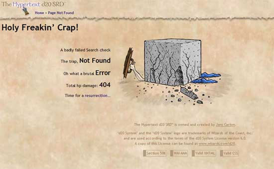 d20srd404 99 Creative 404 Error Pages