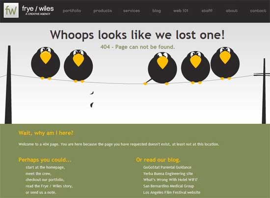 fryewiles404 99 Creative 404 Error Pages