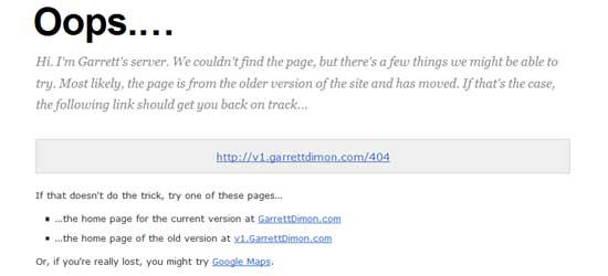 garrettdimon404 99 Creative 404 Error Pages