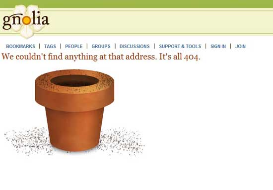gnolia404 99 Creative 404 Error Pages