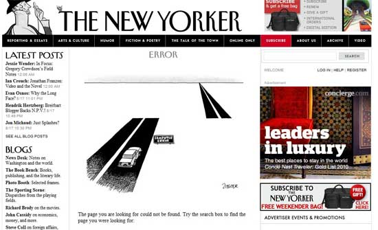newyorker404 99 Creative 404 Error Pages