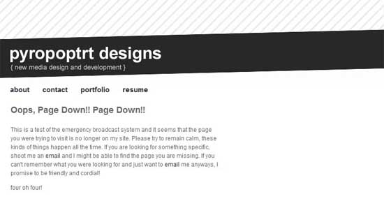 pyropoptrt404 99 Creative 404 Error Pages