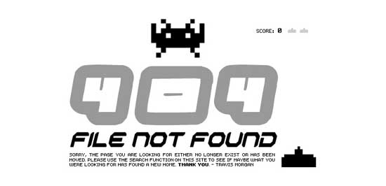 travisjmorgan 99 Creative 404 Error Pages