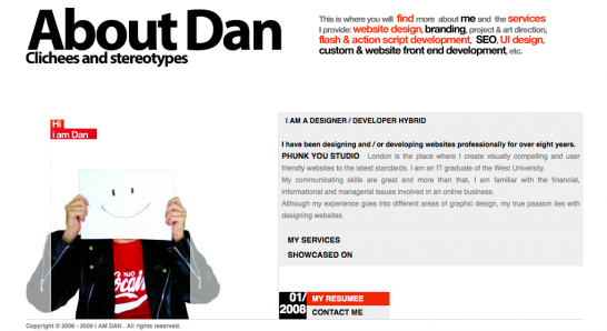 dan 546x298 20 Creative Example of Blog Bio Pages