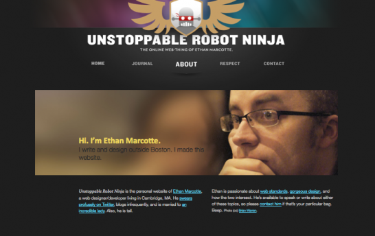 ethan marcotte 546x344 20 Creative Example of Blog Bio Pages