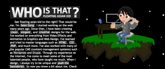 sean geng 546x228 20 Creative Example of Blog Bio Pages