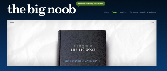 the big noob 546x233 20 Creative Example of Blog Bio Pages