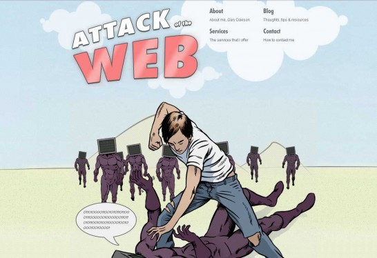 attack ofthe web 546x374 36 Cartoon Style Website Design for Inspirations