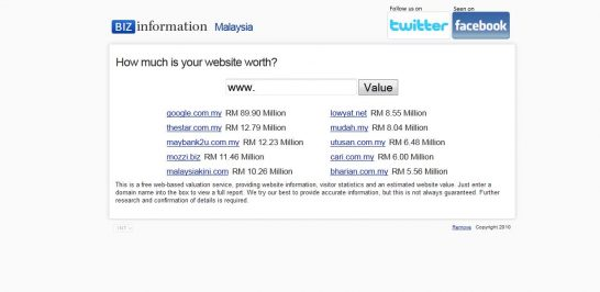 biz information 546x266 Another 10 Best Website Valuation Tools