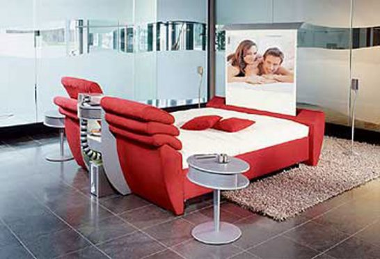 cinema bed 546x372 Extraordinary and Unusual Bed Designs Ideas