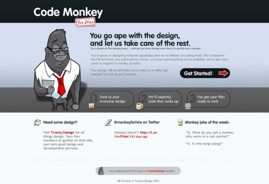 code monkey for hire 546x374 36 Cartoon Style Website Design for Inspirations