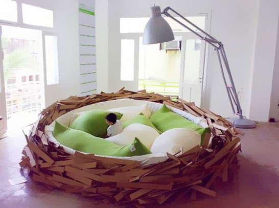 creative beds giant nest 546x409 Extraordinary and Unusual Bed Designs Ideas