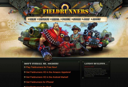 fieldrunners 546x374 36 Cartoon Style Website Design for Inspirations