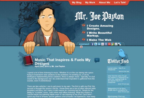 joseph payton 546x374 36 Cartoon Style Website Design for Inspirations