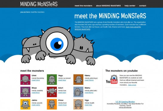 minding monsters 546x374 36 Cartoon Style Website Design for Inspirations