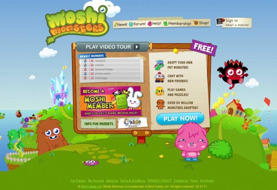 moshi monsters 546x374 Another 30 Cartoon Style Website Design for Inspirations 