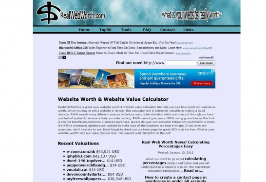 real web worth 546x374 Another 10 Best Website Valuation Tools