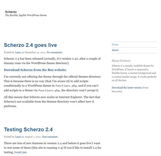 scherzo responsive 546x528 22 Free WordPress Themes with Responsive Layout