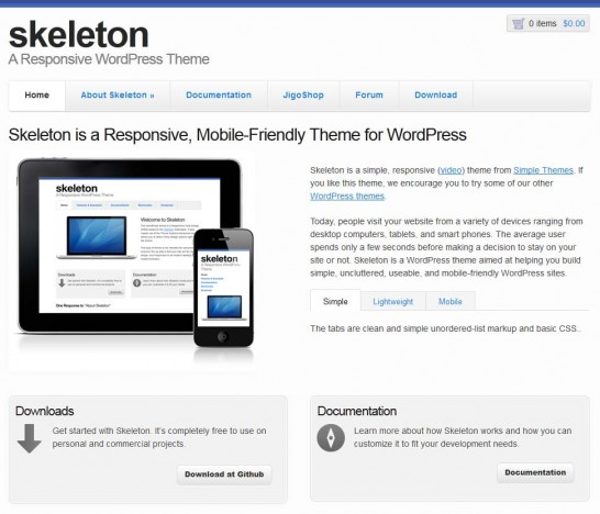 skeleton responsive 546x468 22 Free WordPress Themes with Responsive Layout