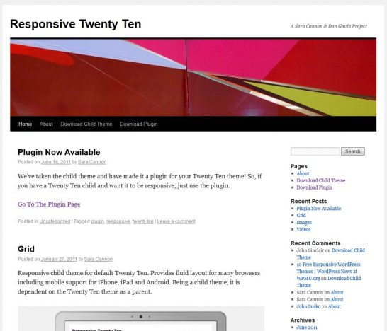 twentyten responsive 546x468 22 Free WordPress Themes with Responsive Layout