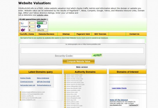 your url live info 546x374 Another 10 Best Website Valuation Tools