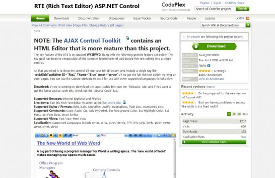 codeplexrte editor 546x355 8 Most Popular Rich Text Editors for Web Developers