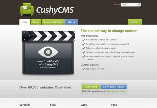 cushycms cms 546x374 14 Free CMS Alternatives for Web Developers