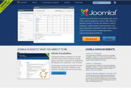 joomla cms 546x374 14 Free CMS Alternatives for Web Developers