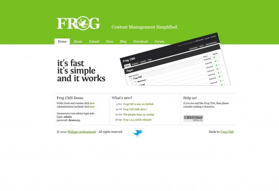 madebyfrog cms 546x374 14 Free CMS Alternatives for Web Developers