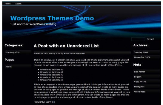bluefusion 546x352 47 of the Best Dark and Black Free Wordpress Themes