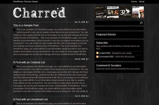 charred 546x361 47 of the Best Dark and Black Free Wordpress Themes
