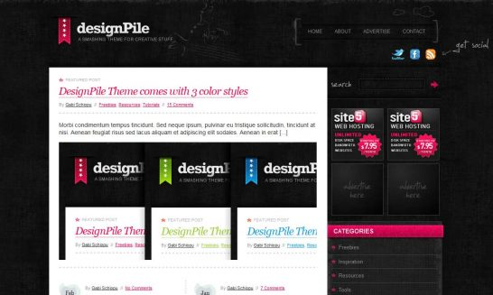 designpile 546x327 47 of the Best Dark and Black Free Wordpress Themes