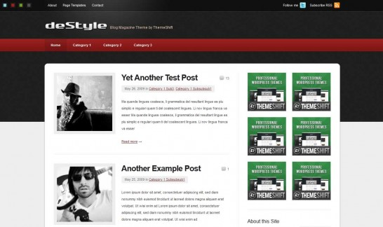 destyle 546x324 47 of the Best Dark and Black Free Wordpress Themes