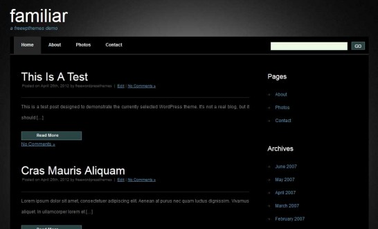 familiar 546x330 47 of the Best Dark and Black Free Wordpress Themes