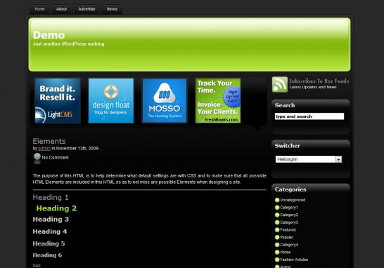 greendream 546x382 47 of the Best Dark and Black Free Wordpress Themes