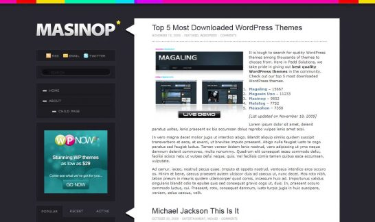 masinop 546x324 47 of the Best Dark and Black Free Wordpress Themes