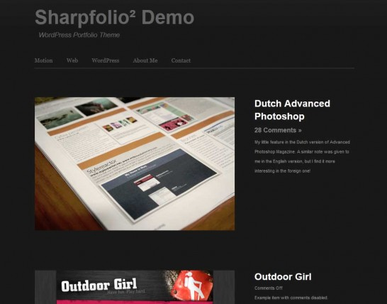 sharpfolio 546x428 47 of the Best Dark and Black Free Wordpress Themes
