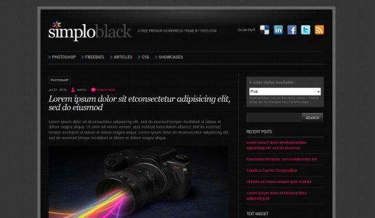 simploblack 546x317 47 of the Best Dark and Black Free Wordpress Themes