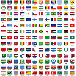 Plane Around the World the Regional FlagFlags Of Countries Around The World