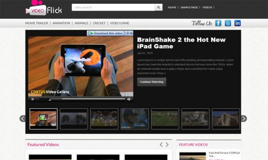 video flick theme 546x326 Monthly Roundup of August 2012