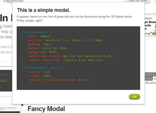 css3 simple modal 546x396 Another 43 Most Inspiring CSS3 Animation Tutorials and Demos