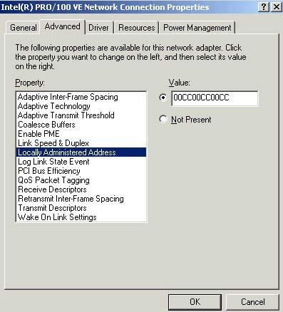 windows 2000 and xp The Simplest, Most Direct Way to Change a MAC Address