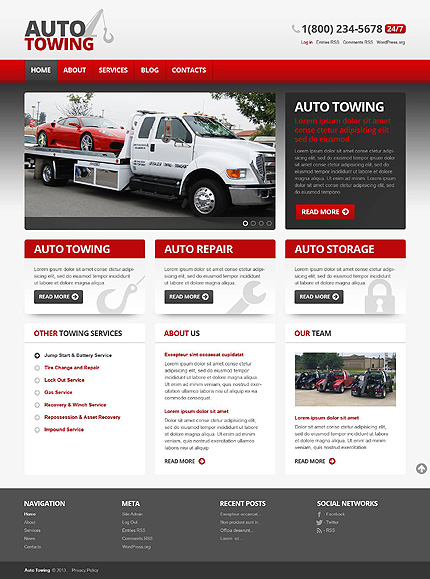 Auto-Towing Car Repair WordPress Theme